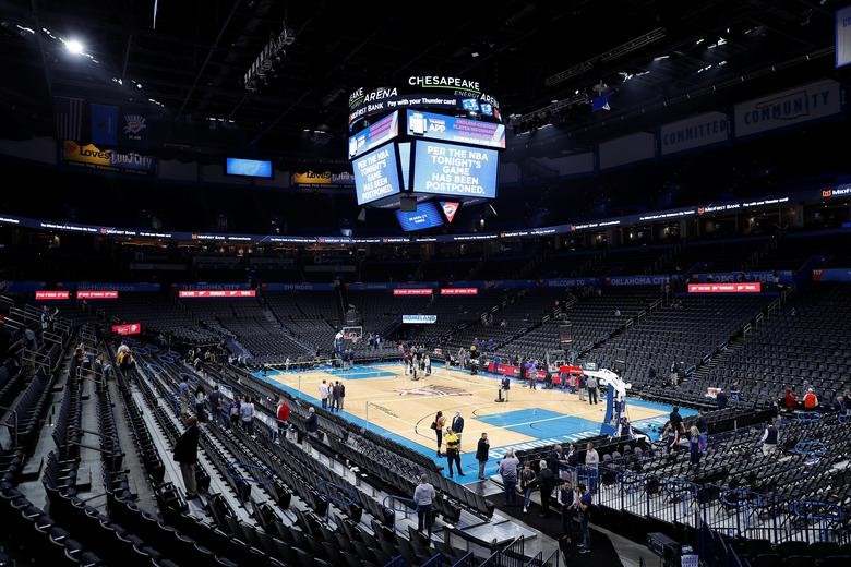 Fan leave after an announcement that the Oklahoma City Thunder and Utah Jazz game was canceled just before tip-off at Chesapeake Energy Arena in Oklahoma City, March 11, 2020. Alonzo Adams-USA TODAY Sports