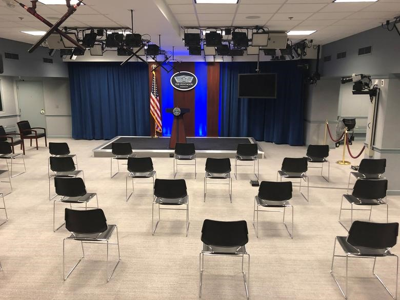 """Chairs in the Pentagon briefing room are set far apart based on """"social distancing"""" protocols being deployed by the U.S. military to try to stem the spread of coronavirus at the Pentagon in Washington, March 10, 2020. REUTERS/Phil Stewart"""